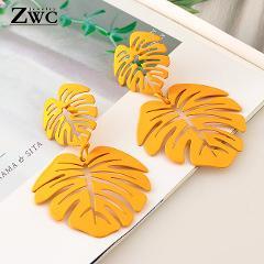 ZWC 2019 Fashion Statement Big Leaf Drop Earrings for Women Vintage Geometric Yellow Green Long Hollow Metal Earring Jewelry
