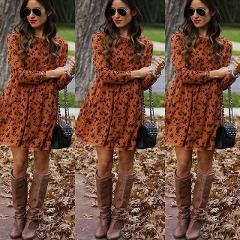 2019 New Midi Floral Long Sleeve Dress Female Autumn O-Neck Retro Print Knee Length Polyester Casual Plus Size Dresses Elegant