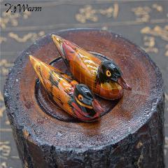 Kiwarm Vintage Resin Pair Of Mandarin Ducks Chopstick Holder For Home Decoration Feng Shui Craft Display Ornament Holiday Gift