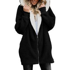 Winter Thicken Warm Faux Fur Coat  Fashion Women Hooded Soft Fleece Zipper Cardigan Female Casual Jackets Plus Size 5X