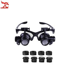 New Professional Adjustable Double Eye Repair Watch Safety Magnifier Head Band Eyeglasses With 8 Lens LED Magnifier Eyewear