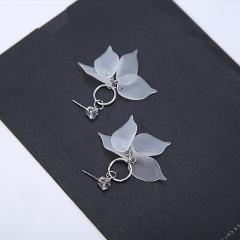 Female Romantic Colorful Flower Long Tassel Earrings For Women Jewelry Multi-layer Petals Plastic Crystal Drop Earrings