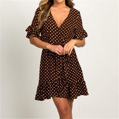 Summer Dress 2019 Boho Style Beach Dress Fashion Short Sleeve V-neck Polka Dot A-line Party Dress Sundress Vestidos