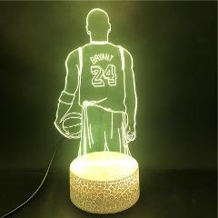 3D Lamp Basketball Star No.24 Kobe Bryant Famous Sportor The Alarm Clock Base Battery Powered Usb Led Night Light Lamp