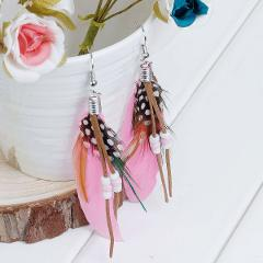 """8Seasons Natural Feather Tassel Earrings White & Pink 10.2cm(4"""") long,Post/ Wire Size: (21 gauge),1 Pair 2017 new"""