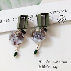 Fashion Green Series Earrings For Women Geometric Vintage Jewelry Round Shape Tassel Drop Earrings Ins Korean Trendy Dangler